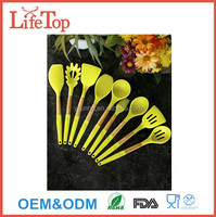 9pcs Wooden handles colorful food silicone rubber kitchen utensils set