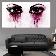 Crying eyes Purple tears Abstract Modern photo picture frame canvas print