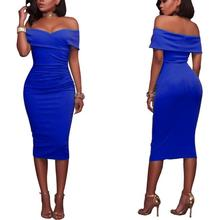 up-0637r Latest sexy women clothing summer off shoulder pencil dresses