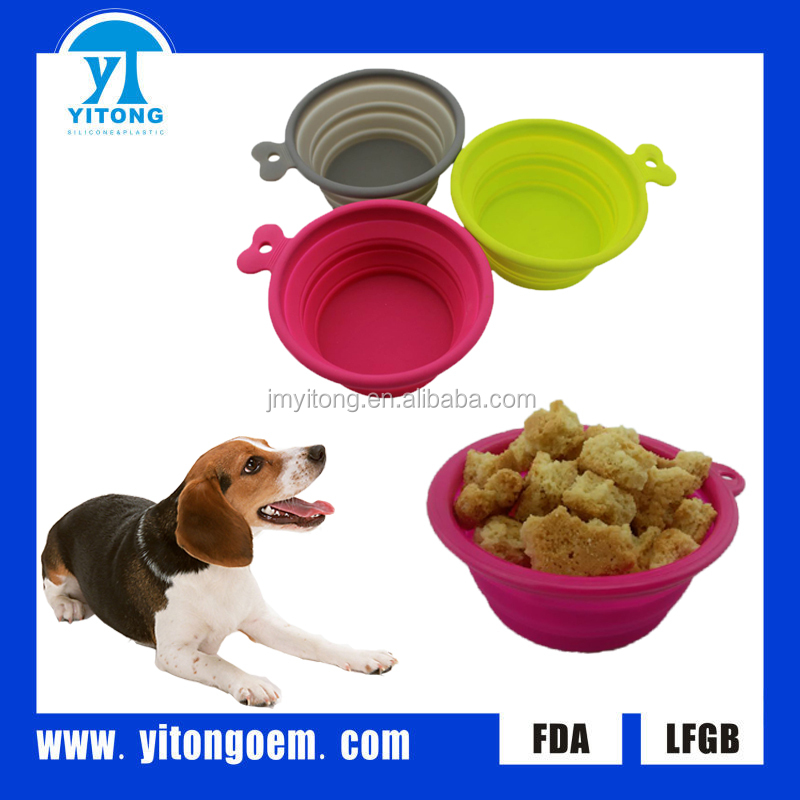 2016 Amazon Hot New Product Collapsible Silicone Pet Dog Bowl FBA Label