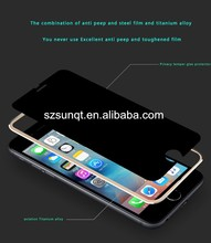 Ultra-thin 0.26mm 9H 3D privacy Titanium alloy color screen protector for samsung galaxy s3
