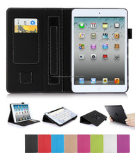 Classic Style PU Leather Case for ipad mini 3 Hand Strap Card Slot