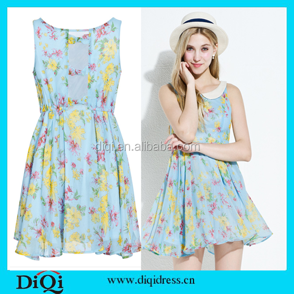 Women dresses wholesale summer floral chiffon print chiffon women dresses, bulk wholesale clothing