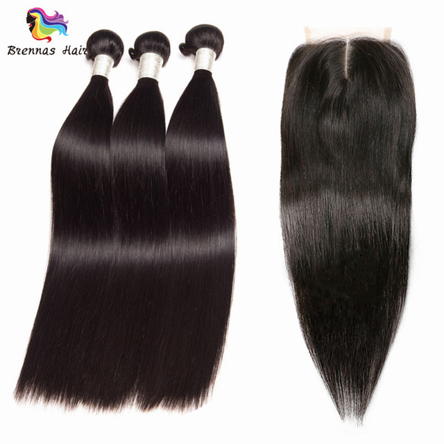 Brazilian Virgin Human Hair Straight Weave Extensions With 4*4 Lace Closure Natural Black 1B