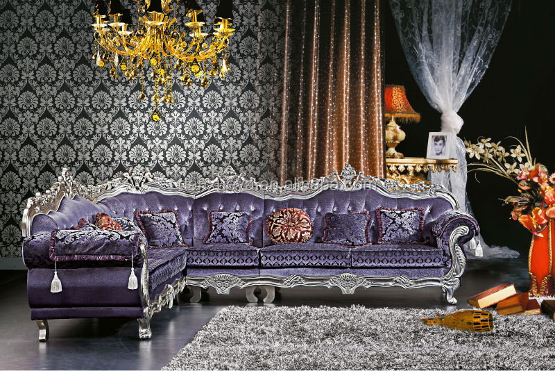 DanXueYa European design modern furniture ornate corner sofa purple royal living room furniture