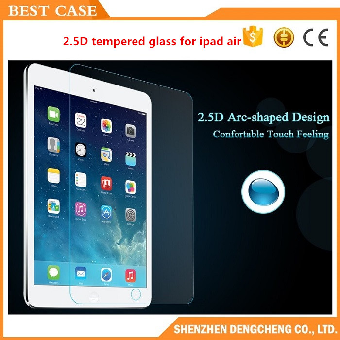 High quality Full cover edge 2.5D Tempered Glass Screen Protector Case For ipad air 2/3/4/mini
