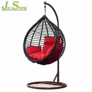 Comfortable outdoor hand knit pe rattan single seat egg swing chair