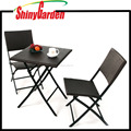 3 PCS Outdoor Vintage Patio Resin Wicker Rattan Garden Folding Bistro Sets, Steel Frames Rattan Dinner Set