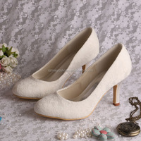Ivory Fabric Lace Women Wedding Shoes