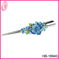 Korean color diamante flower hair pins and clips