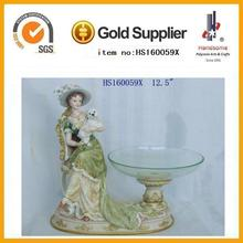 crystal fruit holder with resin elegant women statue