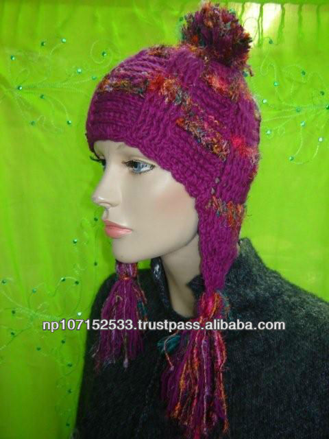 woolen pompom ear cap with raw silk mix price 200rs $2.35
