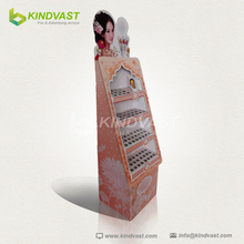 golden rose lip gloss paper material pop display stand /magic lip balm promotional display for cosmetic shops
