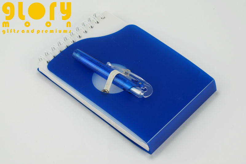 PP PLASTIC COVER MINI SPIRAL NOTEBOOK WITH PEN