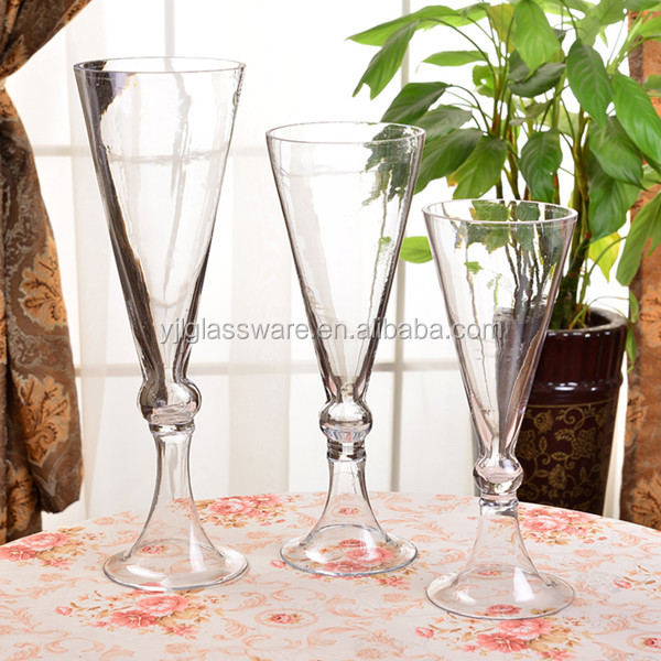 glass vase with foot for wedding and event