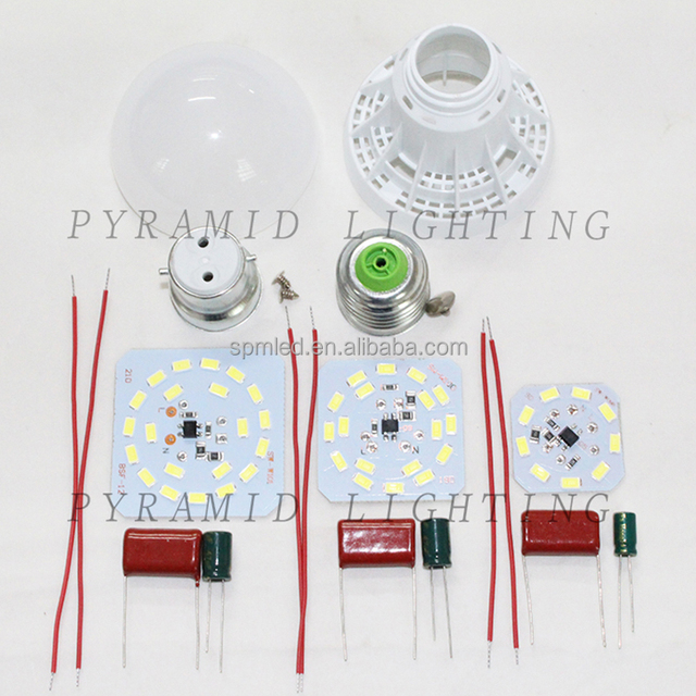 Cheapest SKD LED bulb parts 3W 5W 7W 9W 12W 15W 18W LED Light spare parts with E27 B22 E14 base