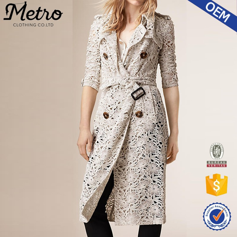 OME Beige Midi Trench Women Thin Crochet Elegant Trench Coat