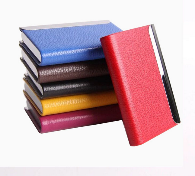 Cheap top quality fake leather business card case PU magnetic name card case