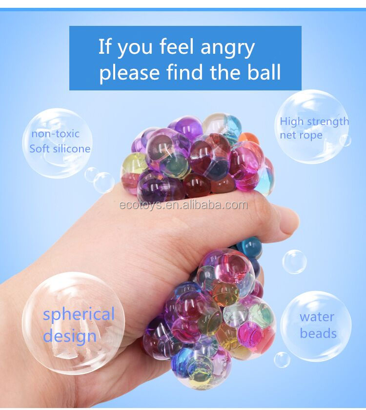 Factory Supply Grape Stress Relief Squeezing Hand Wrist Toy Mesh Squishy <strong>Ball</strong>
