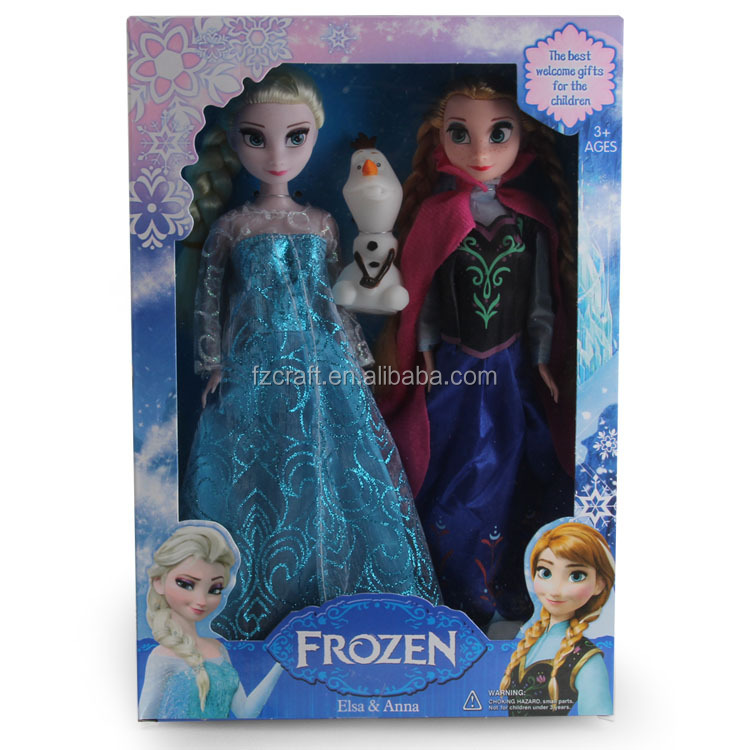 Girl's Frozen Elsa Anna Princess dress Ann toy gift plastic doll beautiful doll with packaging