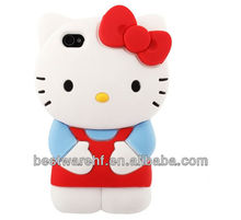 2013 hello kitty funny silicone mobile phone case cover for iphone 4