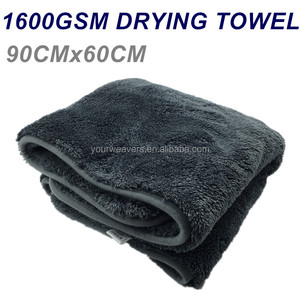 China Manufacturer 1600GSM Large Size Ultra Plush Woolly Mammoth Microfiber Dryer Towel Car Drying Towel