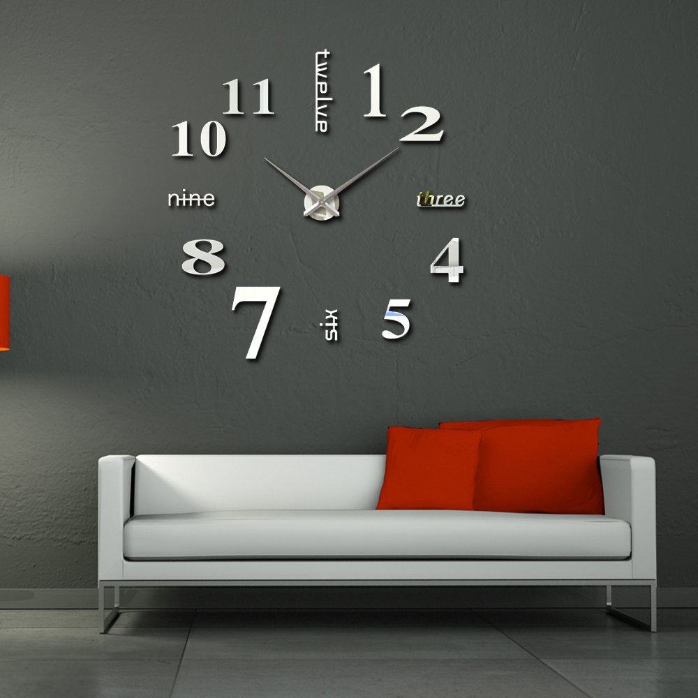 Home Decor 3D DIY Wall Clock Mirror EVA Fashion Design Watch