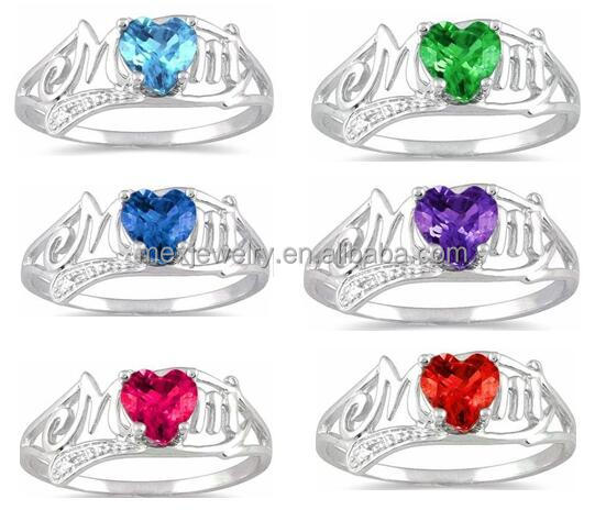 12 Color set customize garnet heart & diamond cz mom ring 925 sterling silver rhodium finish