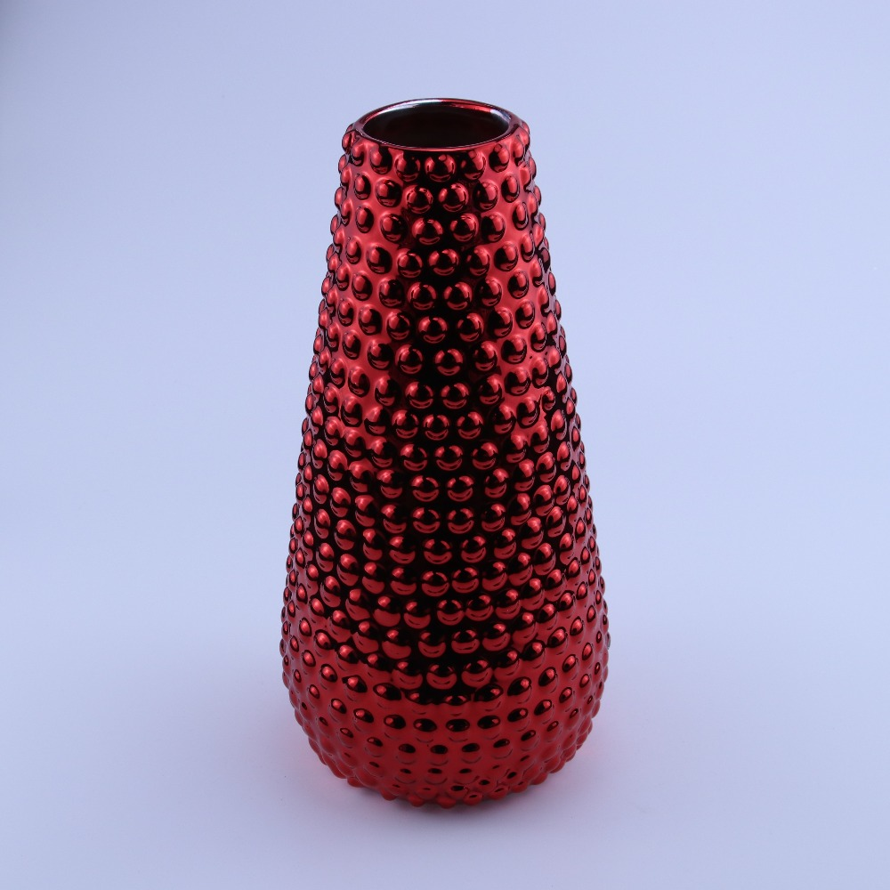 Electroplated rose red ceramic vase for home decoration