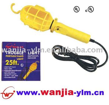 UL Portable Electric Hand Lamp,work lamp,18AWG 2c,25ft,plastic cage with hang hook