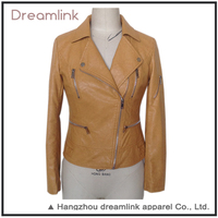 Autumn street wear tan leather motorcycle leather jacket