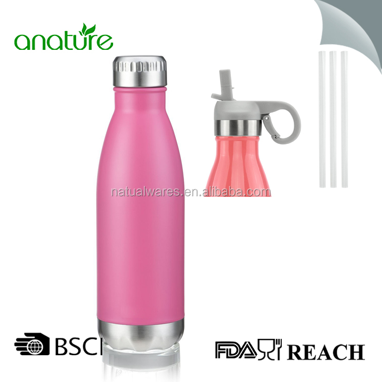 Christmas Double Wall Cola Shape Stainless Steel Pink Color 500ml /17oz Water Bottle With New Rubber Straw Handle Cap 2017