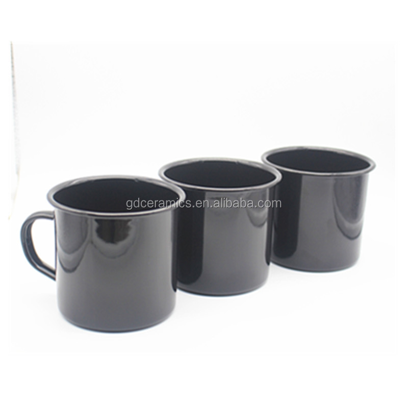 SGS/FDA/LFGB Carbon Steel Enamelled Camping Mug Metal Coffee Cup In <strong>Black</strong>