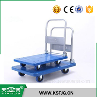 TJG high quality metal Platform Cart Dolly Folding Foldable Moving Warehouse Push Hand Truck trailer
