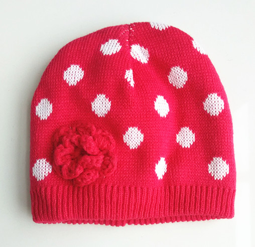 OEM Sevice Lovely Knitted Hat With Crochet Flower