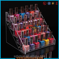 customized 4 tiers clear wall mounted acrylic nail polish display rack/display stand