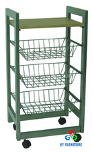 Mobile metal wire basket wooden kitchen trolley with handle
