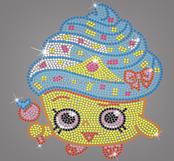 Custom Various Design Cheer Bow Decoration Shopkins Rhinestone Transfer Iron On Cake Cup Hotfix Motif Design For T-shirts