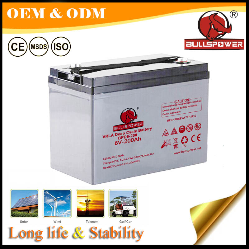 Excellent recovery capability solar battery, 6v 210ah deep cycle gel battery