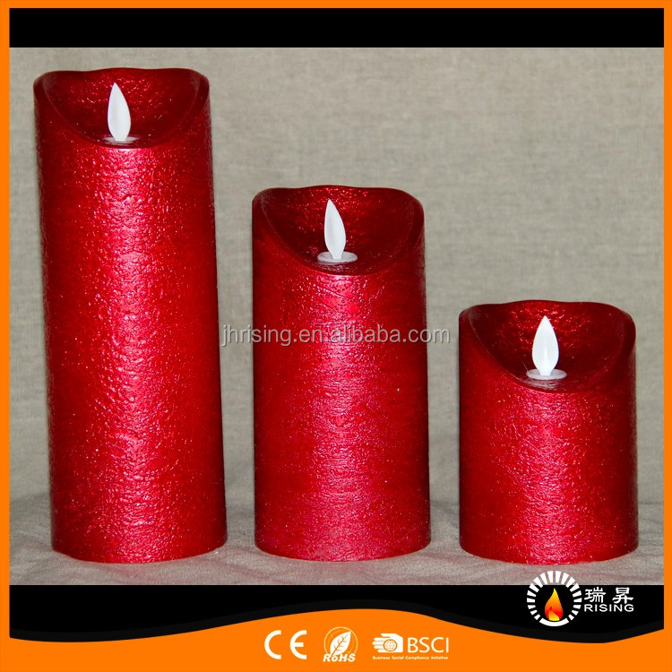 2017 New Metal Oil Painting Battery Operated Moving Wick Luminara Led Candles