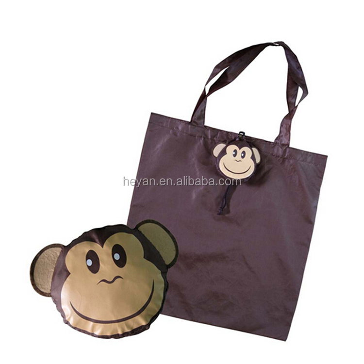 Wholesale animal monkey shape polyester foldable shopping bags