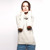New winter fancy color loose high neck woman sweater