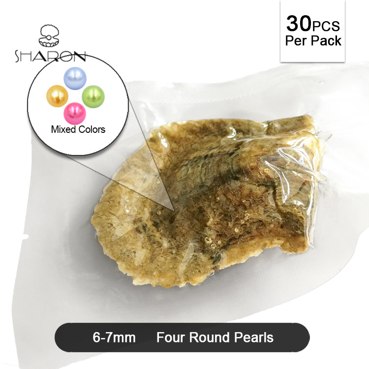 Bulk Wholesale Mixed Colors 6-7mm Vacuum-packed Akoya Oyster with <strong>Quads</strong> Round Pearls For Charm Jewelry and Artware