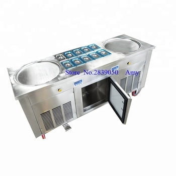 Commercial round pan 110V/220v -30 degree R410 Thailand Roll Fried Ice Cream Machine / Ice Cream Cold Plate / Fry Ice C