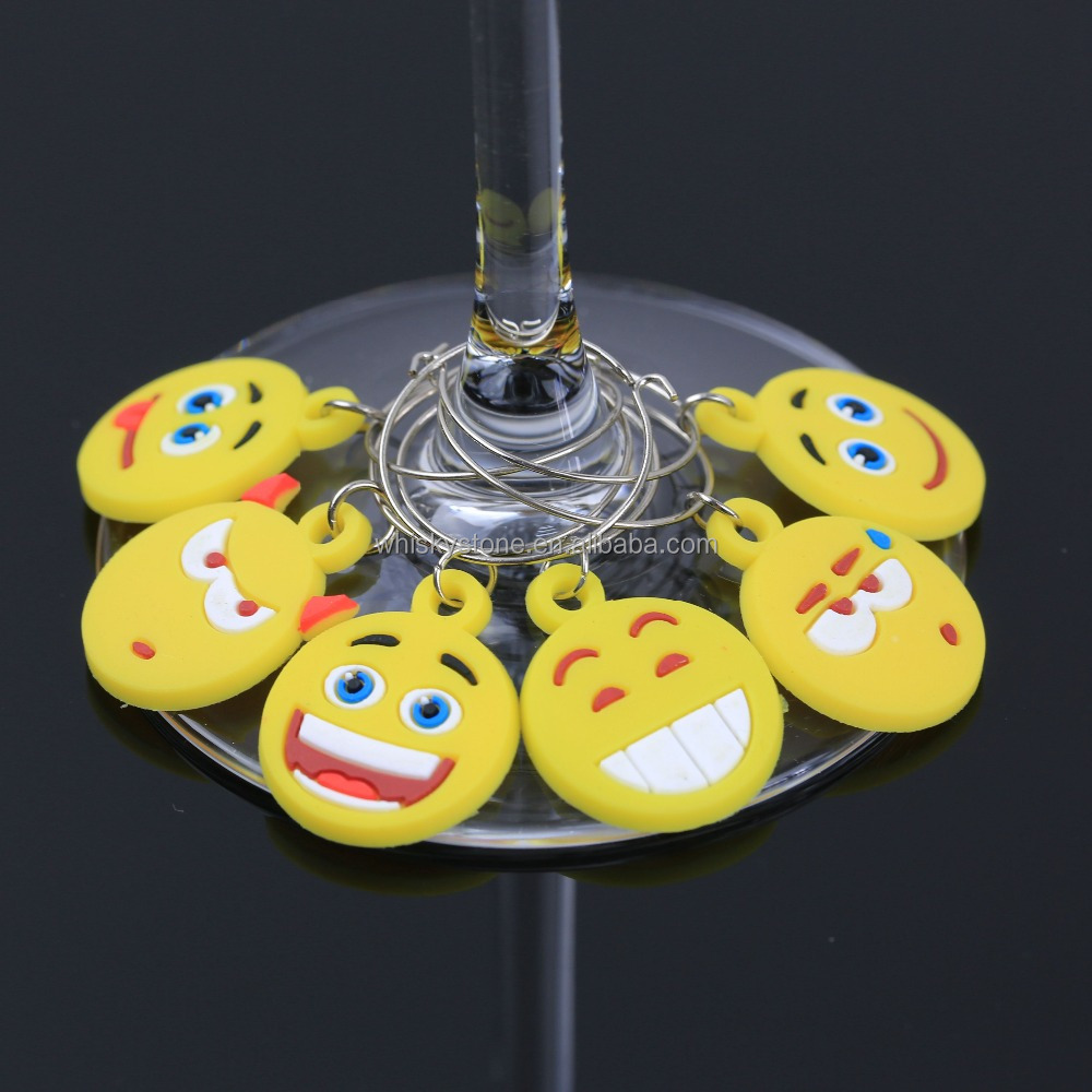 Novelty Drink Markers Silicone Smile Face Wine Glass Charms, Bottle Tag