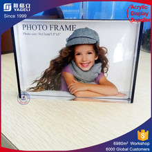 Popular plexiglass frames for posters solid acrylic photo block double side acrylic magnetic photo frame for sale