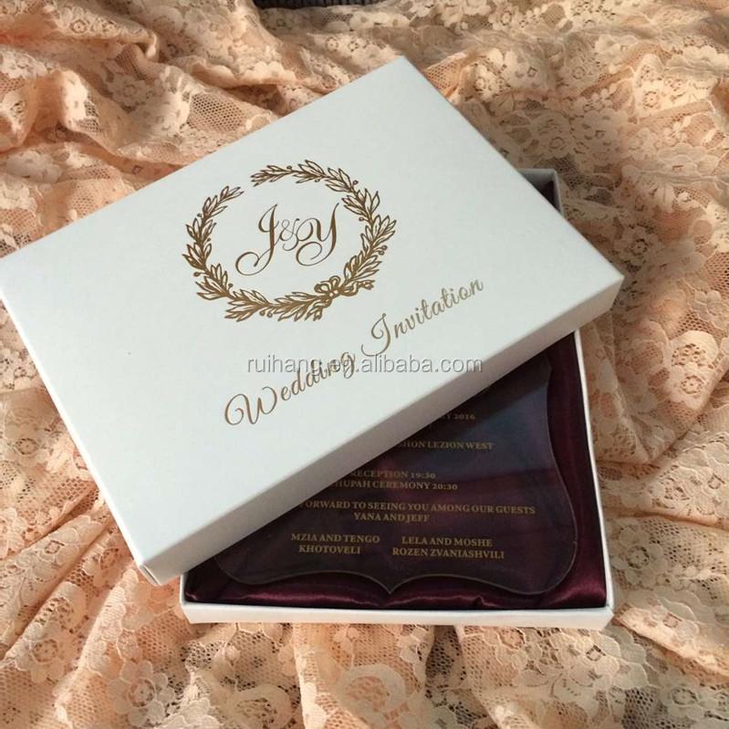 Elegant Wedding Invitation Boxes: Clear Acrylic Die Cut Wedding Invitations For Elegant