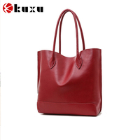 Wholesale custom high quality tote bag genuine leather women handbag