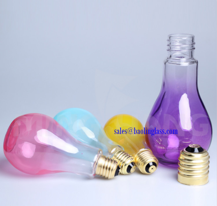 300ml 400ml Fruit Juice Water Bottle Bulb Shape Glass