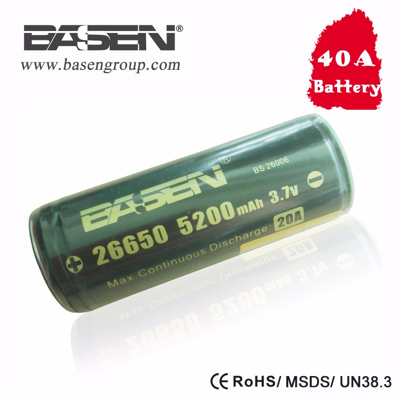 High Capacity 26650 3.7V 5200mah Li-ion Rechargeable Battery Basen Battery with PCB Protection
